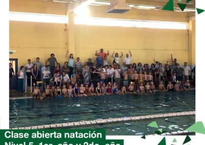 Clase abierta de natación de Nivel 5 años, 1er y 2do año Primaria