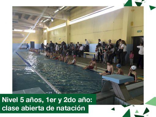 2018: Nivel 5 años, 1ero y 2do año en clase abierta de natación