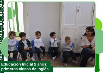 2019: Educación Inicial 2 años en las primeras clases de inglés.