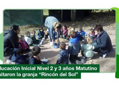 2019: Educación Inicial Nivel 2 y 3 años Matutino visito la granja «Rincón del Sol»