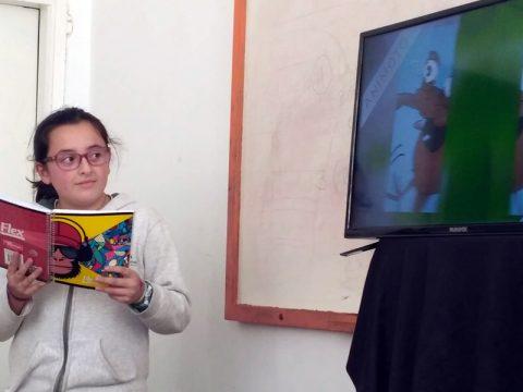 2019 Jueves de cuento: Belén presentó «Ruperto Rocanroll» con una animación.
