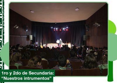 2019: 1ro y 2do de Secundaria asistieron a un concierto didáctico «Nuestros instrumentos»